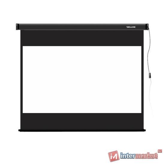 Экран моторизированный, Deluxe, DLS-E229x185, Настенный/потолочный, Рабочая поверхность 221х125 см., 16:9, Matt white, Чёрный
