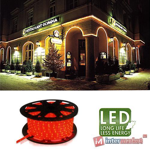 Гирлянда роуп лайт (дюралайт) 45м красная кабель черный 1,8м стартовая Ropelight d12,5мм бухта 36диодов/м LED outdoor